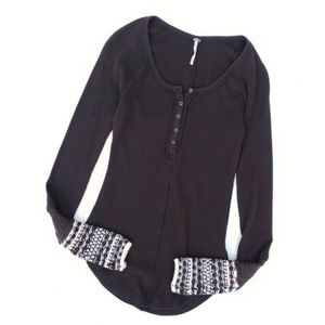 Free People Brown Thermal Top With Cuffs
